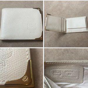 VTG MCM Bi-Fold Wallet Made in Germany Ivory Gold